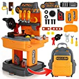 Kids Tool Set, Backpack 2 in 1 Tool Workbench Toy, Removable Carpenter Engineer Role-Play Game, Detachable and Easy to Store, Simulation Props, Educational Games Gift for Boys & Girls【31Pcs】