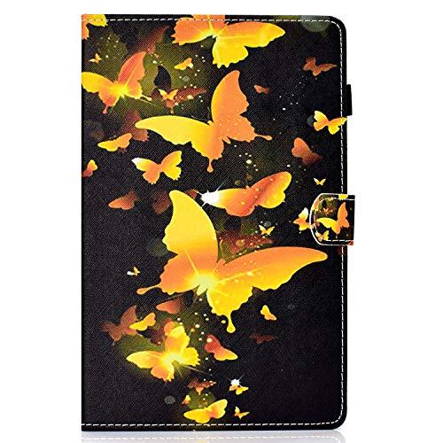 Lspcase Samsung Galaxy Tab A 10.5 Zoll SM-T590 T595 PU Schutz Hülle Flip Cover Wallet Hardcase im Bookstyle mit Standfunktion Karteneinschub & Magnetverschluß Etui Goldener Schmetterling