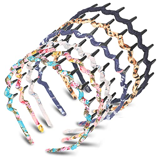 6 Colors Zigzag Shark Tooth Hair Comb Headbands Wrapped Cloth Hard Hairbands Wave Shape Plastic Hair Band Hair Accessory for Women Girls