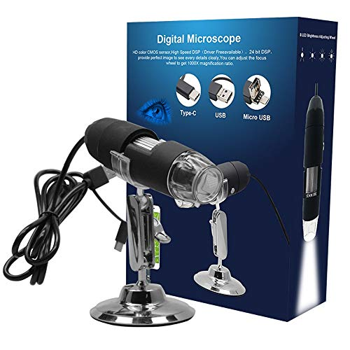 Borescope Electronic Microscope 1000X Digital USB-interface elektronische microscoop vergrootglas 8 LED metalen beugel Stand endoscoop QPLNTCQ