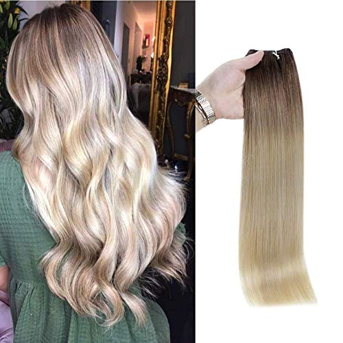 Full Shine Weft Human Hair Extensions 18 Inch Straight Hair Bundles Color 3 Fading To 8 and 613 Yellow Blonde Remy Human Hair Weft Weave In Extensions 100 Gram