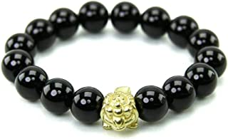 Caraya Amulet Bangle Gem Stones Black Onyx Stone 10 mm with Frog Coin Period (Gimseum Su) or 3-Legged Frog Help for Wealt...