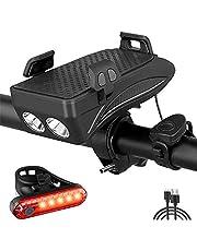 BYCOOR Bike Phone Mount USB Rechargeable Bike Light Set Adjustable Bicycle Holder Handlebar Bicycle Headlight with Horn(Black)