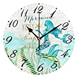 Pfrewn Mermaid Unicorn Galaxy Wall Clock Silent Non Ticking,Round Starfish Beach Clocks Floral Battery Operated Watercolor Vintage Desk Clock 10 Inch Quartz Analog Quiet Bedroom Living Room Home Decor