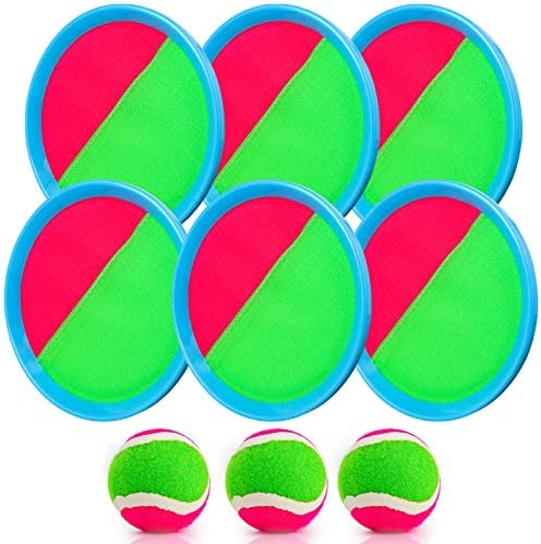 Catch Games Toy for Kids Aywewii Toss and Catch Ball Set Paddle Ball Game Set with 6 Paddles product image