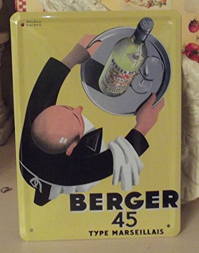 PLAQUE METAL 20X15 PUB RETRO PASTIS BERGER 45 MARSEILLE