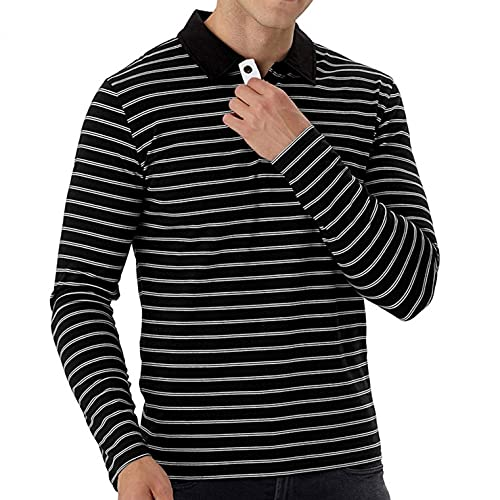 XUEbing Polo para hombres manga larga Henley camisa slim fit botón solapa camisa algodón deportes casual jersey, A-72, XL