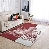 YOUYO Spark Alfombra de goma antideslizante de pulpo rojo – Duradera alfombra para mesa de café blanca 122 x 183 cm