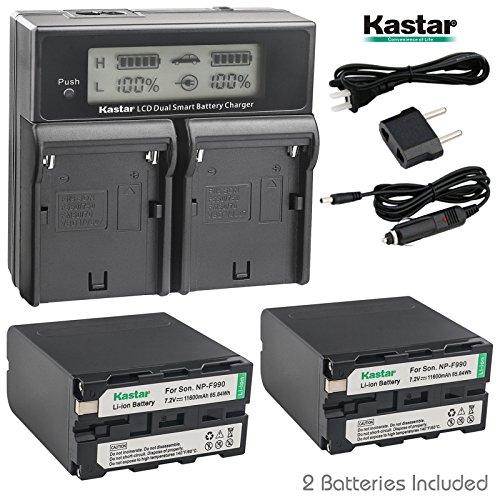 Kastar LCD Dual Fast Charger & NP-F990 Battery X2 7.2V 11600mAh for Sony NP-F975 NP-F970 NP-F960 NP-F950 NP-F930 NP-F770 NP-F750 NP-F730 NP-F570 NP-F550 NP-F530 NP-F330, Sony Camcorder and LED Light -  CH04-2B-F990