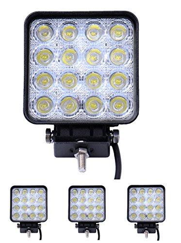 Aoklea 4X 48W 16 LEDs IP67 Flutlicht LED Arbeitsscheinwerfer Außenstrahler Offroad Lampe Zusatzscheinwerfer für Jeep SUV 12-24V