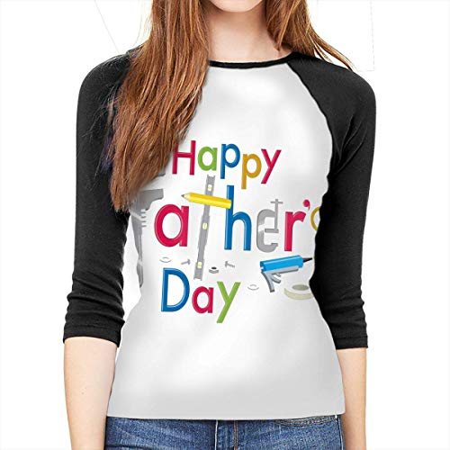 Henrnt Damen Bluse 3/4 Arm T-Shirt Bluse Top Father's Day Happy Print T-Shirt Casual Crew Neck Tops Tee