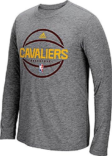 Adidas Cleveland Cavaliers Slimmer Fit On-Court Grigio Pre-Game Slim Fit Sintetico Manica Lunga T Shirt, Uomo Unisex - Adulto, Grigio, L=40