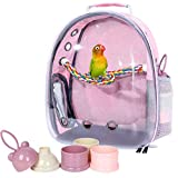 Pink Bird Backpack Carrier with Portable Bird Feeder Cups, Pet Bubble Carrier for Pet Birds, Airline-Approved, Ventilate Transparent Space Capsule Carrier Backpack for Travel, Hiking and Outdoor Use