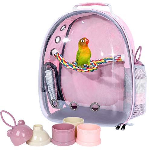 Bird Backpack Carrier with Portable Bird Feeder Cups, Pet Bubble Carrier for Pet Birds, Airline-Approved, Ventilate Transparent Space Capsule Carrier Backpack for Travel, Hiking and Outdoor Use