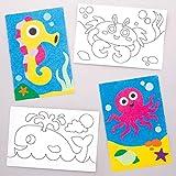 Baker Ross- Dibujos de Animales Marinos Para Decorar Comarena (Pack de 8)- Actividad de Manualidades...