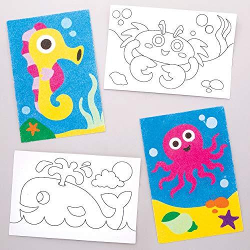 Baker Ross- Dibujos de animales marinos para decorar con arena (Pack de 8)- Actividad de manualidades infantiles para decorar con arena y exhibir