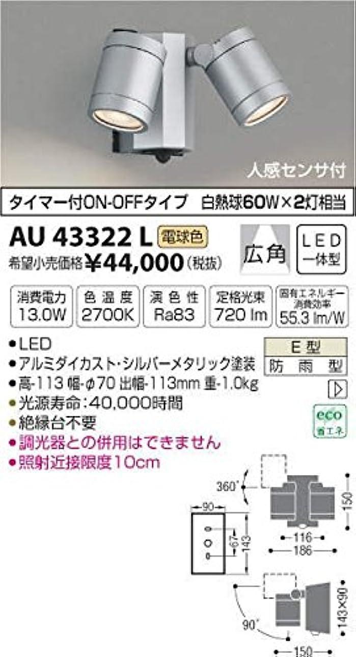 固体忌まわしいよく話されるAU43322L 電球色LED人感センサ付ウトドアスポットライト
