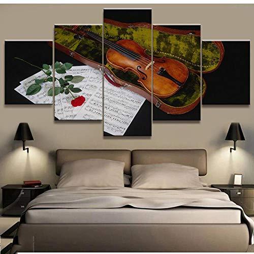 DFGH Pintura en Lienzo, Arte de Pared, Impresiones en HD, 5 Piezas, violín, decoración del hogar, Instrumento Musical, Modular para Cuadros de Sala de Estar, póster artístico