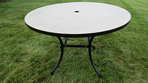 Pebble Lane Living All Weather Rust Proof Indoor/Outdoor Exclusive Round Natural Stone Mosaic Concrete Top Patio Dining Table with Umbrella Hole, Black Frame, 39.5' D x 27 3/4' H