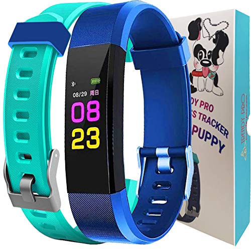 Kids Fitness Tracker Activity Tracker for Kids - Waterproof Smart Watch for Girls Boys Teens Youth Digital Watch Alarm Pedometer Sleep Activity Step Counter - 2 Bands Aqua Blue Gift Set