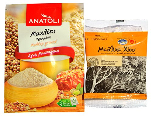 Greek Pure Gum Mastic of Chios 10g and Ground Mahlep for Cooking, Baking, Bundle