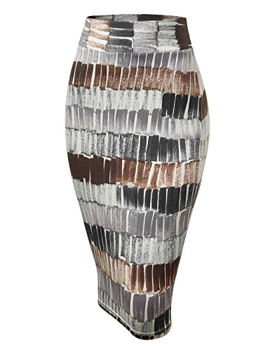 WB1304 Womens Print Midi Pencil Skirt M Black_Brown