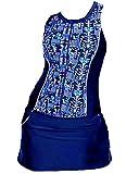 Mujer Traje de Baño de Dos Piezas Tankini Estampado Bañador con La Falda Azul 4XL