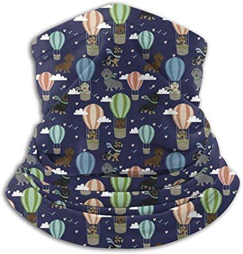 Fleece Neck Warmer Gaiter dakshond Hot Air Balloon Soft Microfiber Headwear Face Scarf Mask for Winter Cold Weather & Keep Warm For Men Womens