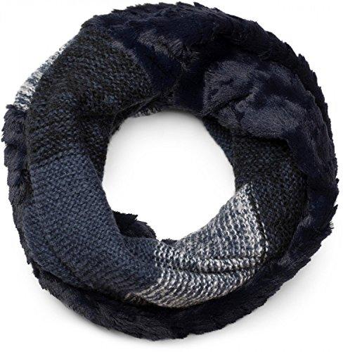 styleBREAKER sciarpa scaldacollo in maglia a righe con motivo ondulato e inserto in pelliccia sintetica, sciarpa in maglia, donna 01018142, colore:Blu scuro-Bianco