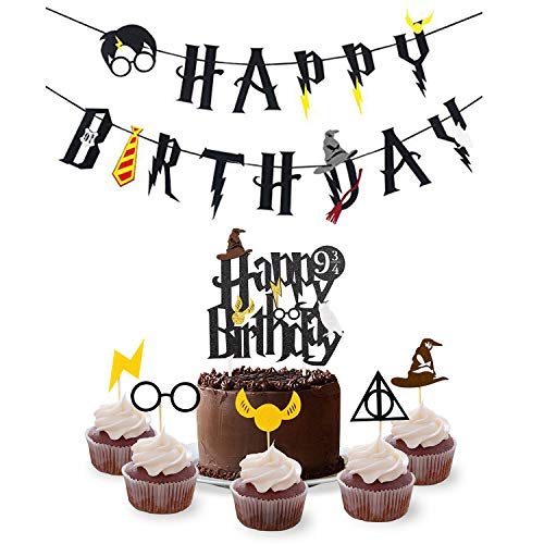 Magic Party Banner, Party Supplies Set Happy Birthday Banner with Cake Topper,30pcs Cupcake Toppers for Halloween, Wizard Theme Party Supplies Decorations