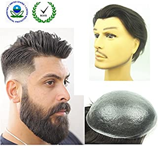 "PU Skin Toupee for Men, N.L.W. European Human Hair Pieces for Men with 10"" x 8"".."