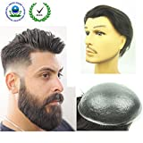 PU Skin Toupee for Men, N.L.W. European Human Hair Pieces for Men with 10' x 8' PU Thin 0.04cm Skin, 1B Off Black