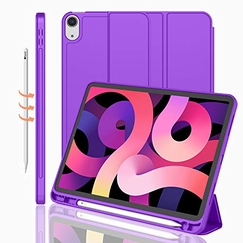 iMieet Case for New iPad Air 4th Generation 10.9 Inch 2020 with Pencil Holder [Support Touch ID and iPad 2nd Pencil Charging/Pair], Trifold Stand Smart Case with Soft TPU Back,(Grape Purple)