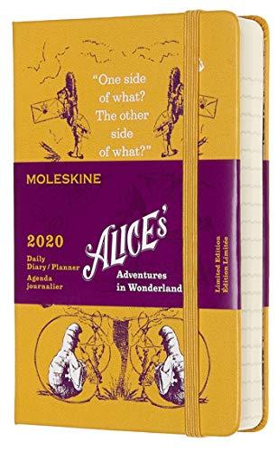 Moleskine Alice im Wunderland Special Edition Taschenkalender 2020 (mit Tagesansicht, 12 Monate, mit Hardcover und elastischem Verschluss, 9 x 14 cm, 400 Seiten) gelb