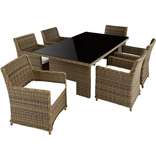 TecTake Hochwertige Luxus Aluminium Poly Rattan Garten Essgruppe rostfrei | 6 Stühle + Tisch mit Glasplatte (195x109cm) | Natur braun (Sitzgruppe 6+1 | Nr. 402224)