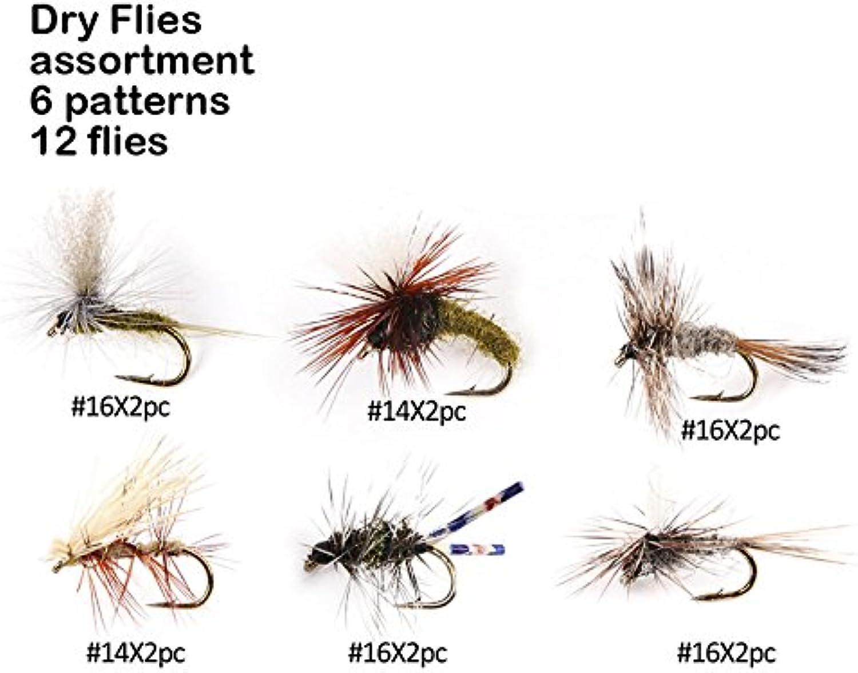 River peak Dry flies assortment 6 pattern 12 flies