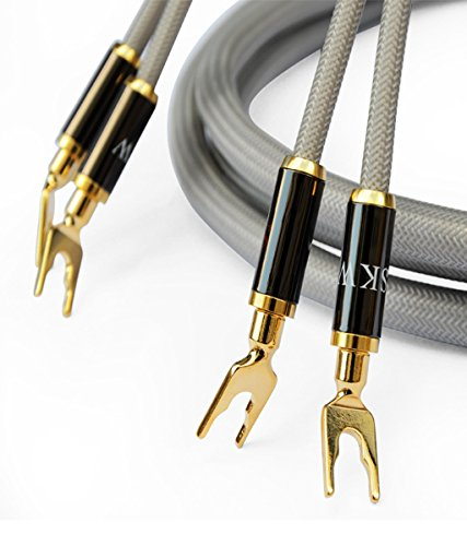 SKW A Pair Audiophile Speaker Cable,Convertible Banana Spade Gold Plated Connector, HiFi Quality Cable - 9.8ft/3M, Grey, 2 Packs for 2 Speakers