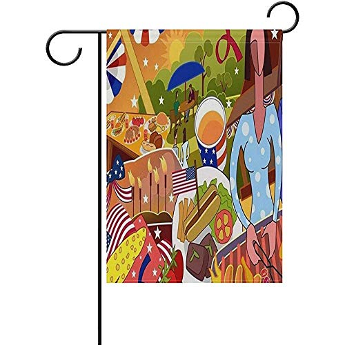 Emonye Garden Flag Yard Decoration, Weekend Picnic Grill Barbecue Party Painting Classic