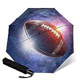 Opulent Paons Parapluie de Voyage Coupe-Vent Parapluie de Voyage Auto Fermeture Compact Parapluie Pliable Orange Ballon de Rugby Galaxy Space Taille Unique
