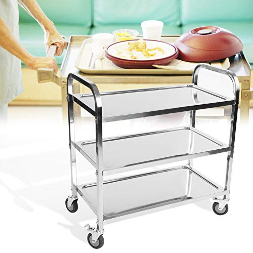 Kitchen Trolley on Wheels, 3 Tier Detachable Stainless Steel Catering Trolley Restaurant Hotel Serving Clearing Trolley Cart Food Tea Storage Trolley with Brake, 85x45x90cm