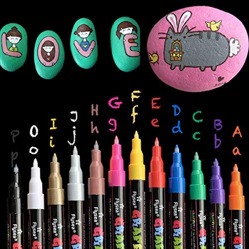 eeQiu Acrylstifte Marker Stifte, 0,7mm Wasserfest Acrylfarben Marker Set ungiftig, zum Bemalen von Steinen, Keramik, Glas, Leinwand, Tassen, Holz und Ostereiern. 12 Farben