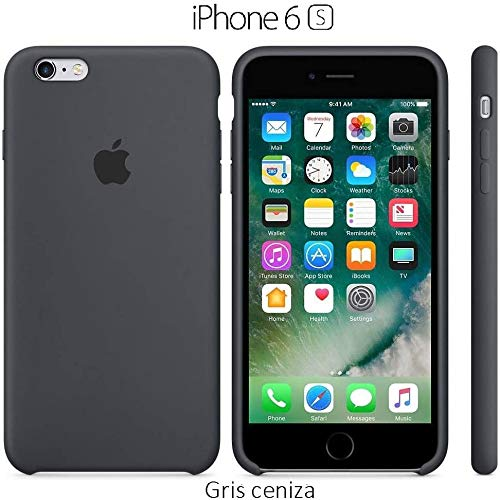 Funda Silicona para iPhone 6 y 6s Silicone Case, Calidad, Textura Suave, Forro Interno Microfibra (Gris-Ceniza)