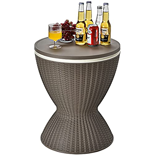 CASART 30L Rattan Effect Ice Bucket, Height Adjustable Bar Beer Cooler Table, Outdoor Coffee Cocktail Table Round Stool for Garden, Patio, Party, Deck and Pool (Brown)