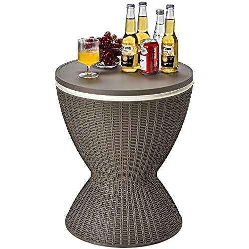 CASART 30L Rattan Effect Ice Bucket, Height Adjustable Bar Beer Cooler...