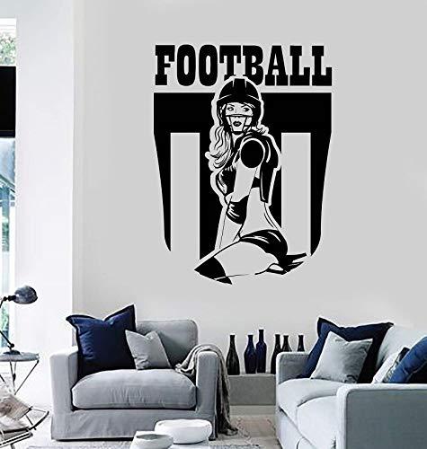 Cartoon Sport Vinyl Wandtattoo Fußball Mädchen Anime Sport Teen Raumdekoration Aufkleber Familie Wohnzimmer Dekoration Wandaufkleber 84x114cm