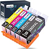 OfficeWorld Compatible Canon 280 281 Ink Cartridges Latest Chip Replacement for Canon 280XXL 281XXL, for Pixma TS9120 TR8520 TS6120 TS6220 TS8120 TR7520,5 Pack 1 PGBK,1 Black,1 Cyan,1 Magenta,1 Yellow