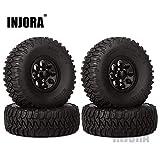 INJORA 4Pcs 1.55' Aluminum Wheel Tires 1.55 Inch Tyre...