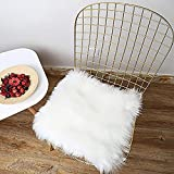 LOCHAS Luxury Super Soft Fluffy Shaggy Seat Cushion Faux Sheepskin Rug for Floor Sofa Chair,Chair Cover Seat Pad Couch Pad Area Carpet, 1.5ft x 1.5ft,White