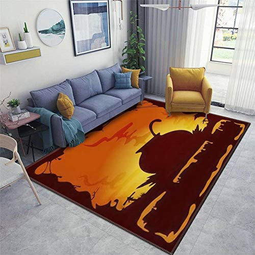 Orange Halloween Background with Witches Cauldron Illustration Area Rugs Floor Mat Non Slip Throw Rugs Soft Door Mat Nursery Carpet for Living Room Home Indoor Outdoor Runner Rugs Yoga Mat
