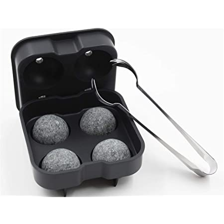 Whiskey Stones Set include 4 Large Sphere Granite Whiskey Rocks + Silicone Ice cube tray + Stainless Steel Tong. Large and Reusable whiskey stone could chill your Whiskey & Beverage longer